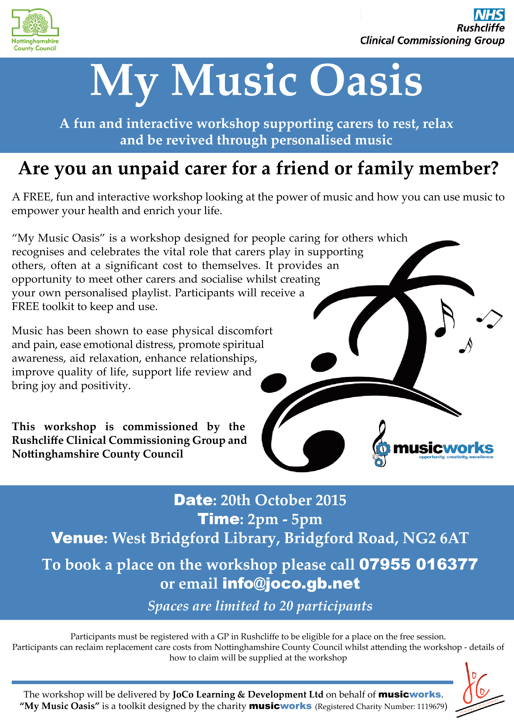 PRESS RELEASE – Caring for Rushcliffe Carers – A Music Oasis